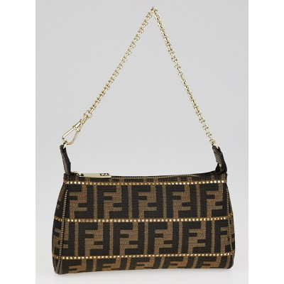 Fendi Tobacco Zucca Print Canvas Chain Mini Pochette Crossbody Bag 8M0264