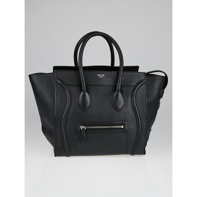 Celine Black Textured Calfskin Leather Mini Luggage Tote Bag