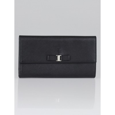 Salvatore Ferragamo Black Pebble Calf Leather Vera Bow Wallet
