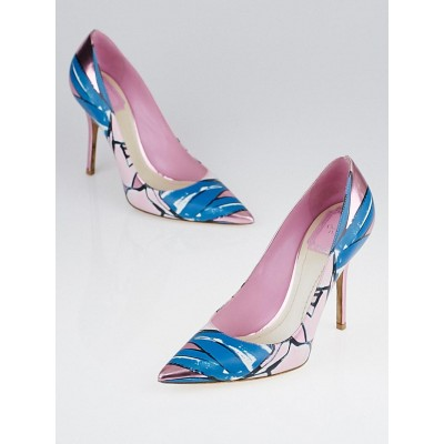 Christian Dior Pink/Blue Printed Leather Cheries Pointed Toe Pumps Size 6/36.5