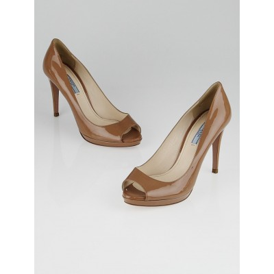 Prada Nude Patent Leather Peep Toe Pumps Size 8/38.5