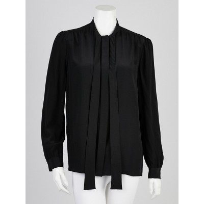Chloe Black Silk Long Sleeve Neck Tie Blouse Size 8/40