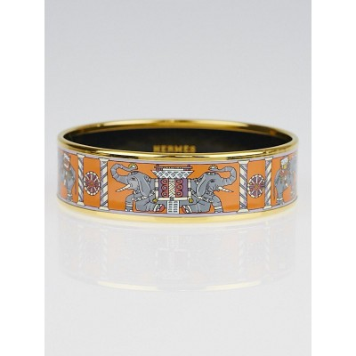 Hermes Orange/Grey Elephant Printed Enamel Gold Plated Wide Bangle Bracelet