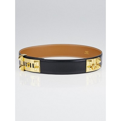 Hermes Black Box Leather Gold Plated Collier de Chien Belt Size 68