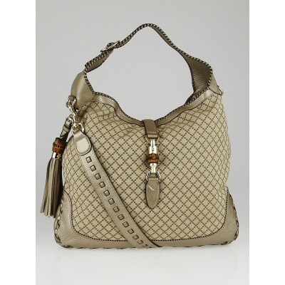 Gucci Beige/Gold Diamante Canvas Bamboo New Jackie Large Shoulder Bag