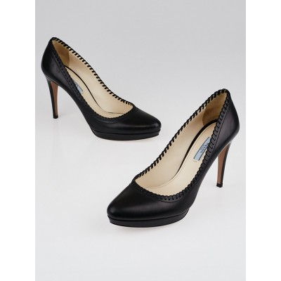 Prada Back Soft Calfskin Leather Whipstitched Pumps Size 10/40.5