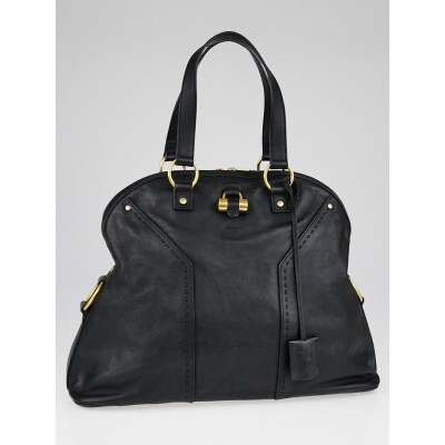 Yves Saint Laurent Black Calfskin Leather Oversized Muse Bag