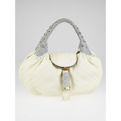Fendi White Nappa Leather Spy Bag