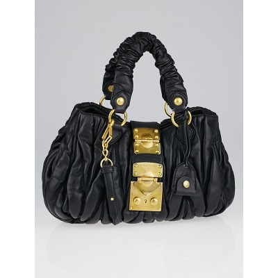 Miu Miu Black Matelasse Lambskin Leather Bauletto Aperto Bag RN0473