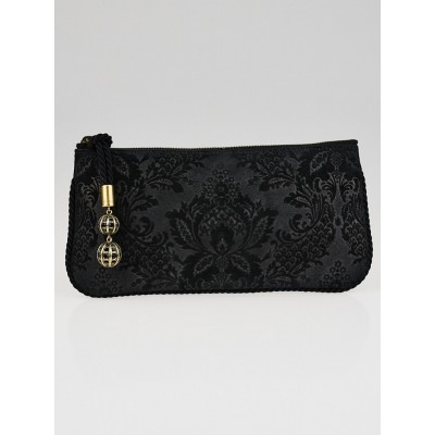 Gucci Black Brocade Leather Zip Clutch Bag