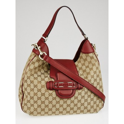 Gucci Beige/Red GG Canvas Dressage Hobo Bag