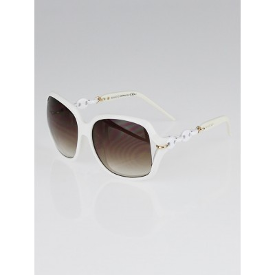 Gucci White Frame Gradient Tint Oversized Chain Sunglasses-3584/S