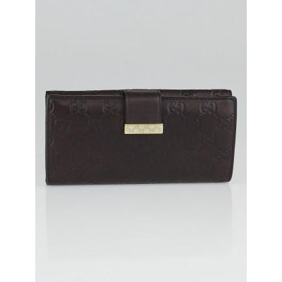 Gucci Brown Guccissima Leather Metal Bar Continental Wallet
