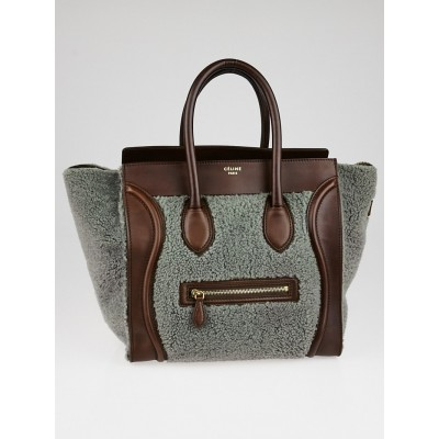 Celine Grey Shearling and Brown Leather Mini Luggage Tote Bag