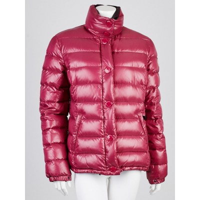 Moncler Raspberry Quilted Nylon Down Jacket Size 4/XL