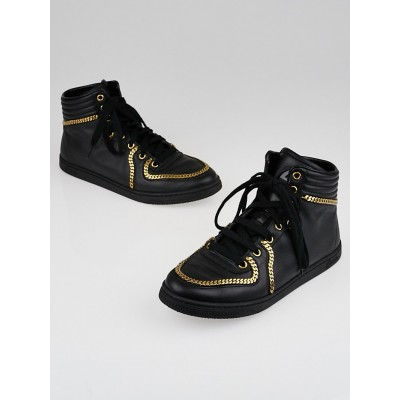 Gucci Black Leather and Goldtone Chain Coda High-Top Sneakers Size 7.5/38