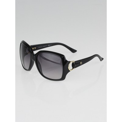 Gucci Black Frame Gradient Tint Horsebit Oversized Sunglasses - 3609/S