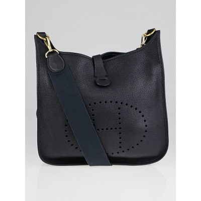 Hermes Navy Blue Clemence Leather Evelyn I PM Bag