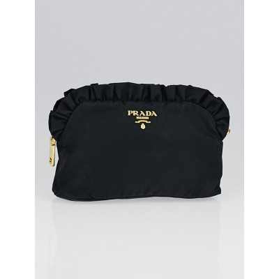 Prada Black Tessuto Nylon Small Cosmetic Pouch 1N1486