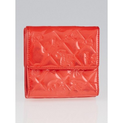 Chanel Coral Patent Leather Symbols Lucky Charm Compact Wallet