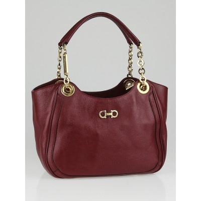 Salvatore Ferragamo Bordeaux Textured Leather Betulla Small Tote Bag