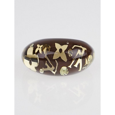 Louis Vuitton Brown Resin Monogram Inclusion Ring Size 7.5 L
