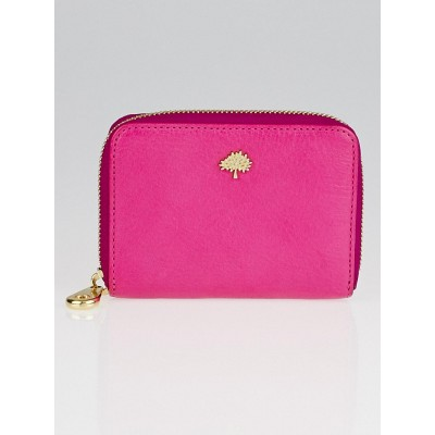 Mulberry Pink Small Classic Grain Leather Tree Zip Around Wallet
