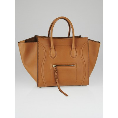 Celine Tan Calfskin Leather Small Phantom Luggage Tote Bag