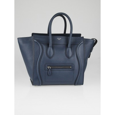 Celine Orage Drummed Calfskin Leather Mini Luggage Tote Bag