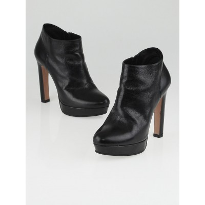 Prada Black Leather Platform Ankle Boots Size 5.5/36