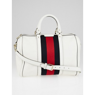 Gucci White Leather Vintage Web Medium Joy Boston Bag w/Shoulder Strap