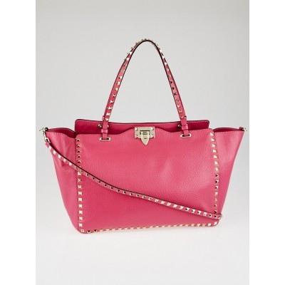 Valentino Fuchsia Leather Rockstud Medium Tote Bag