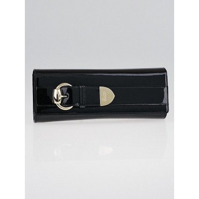 Gucci Black Patent Leather Large Buckle Clutch Bag