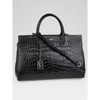 Yves Saint Laurent Black Crocodile Embossed Leather Cabas Rive Gauche Medium Bag
