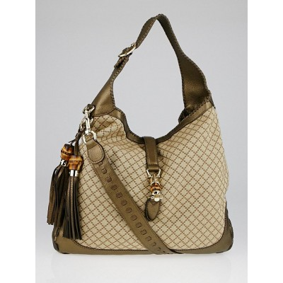 Gucci Beige/Bronze Diamante Canvas Bamboo New Jackie Large Shoulder Bag