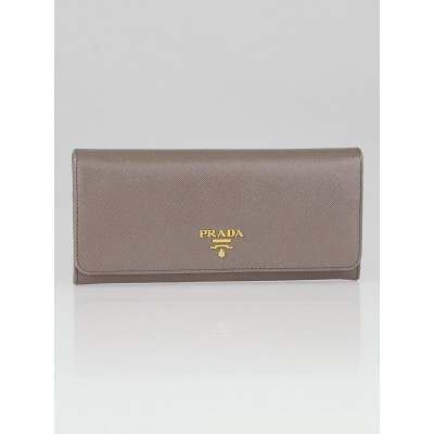 Prada Argilla Saffiano Metal Leather Continental Wallet 1M1132