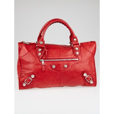Balenciaga Coquelicot Lambskin Leather Giant 12 Silver Work Bag