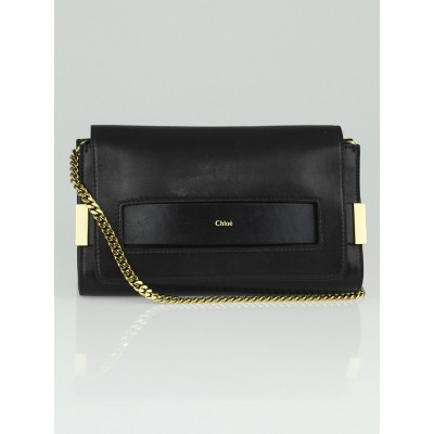 Chloe Black Lambskin Leather Medium Elle Chain Clutch Evening Bag