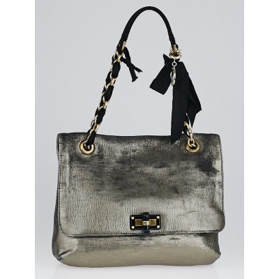 Lanvin Argent Metallic Calfskin Leather Happy Partage Bag