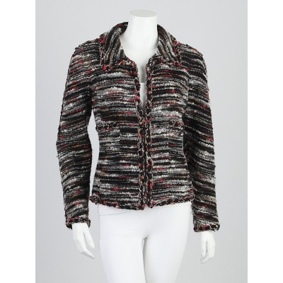 Chanel Black/Red/Beige Wool  Boucle Jacket Size 6/38