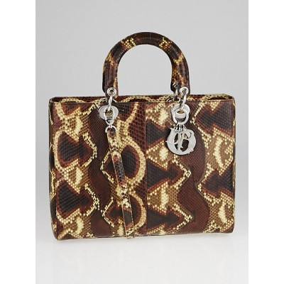 Christian Dior Brown Python Large Lady Dior Tote Bag