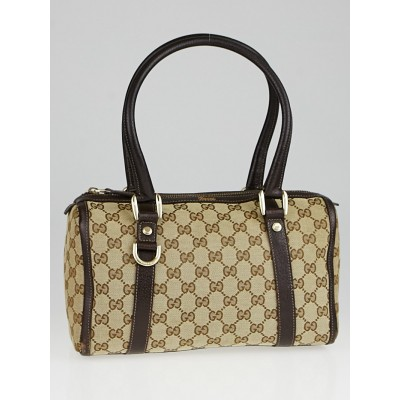 Gucci Beige/Ebony GG Canvas D-Ring Boston Bag