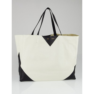 Celine Black/White Bicolor Calfskin Leather Horizontal Cabas Tote Bag
