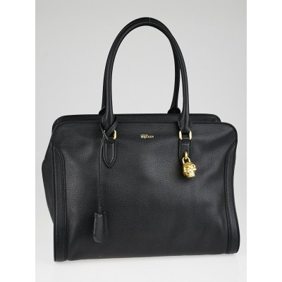 Alexander McQueen Black Calfskin Leather Medium Padlock Zip Tote Bag