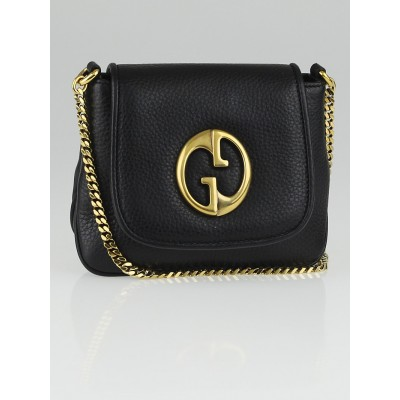 Gucci Black Pebbled Leather '1973' Small Shoulder Bag