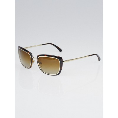 Chanel Tortoise Plastic and Metal Square Frame Sunglasses-4203