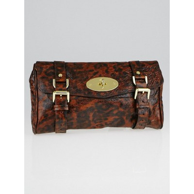 Mulberry Leopard Print Crinkled Leather Alexa Clutch Bag