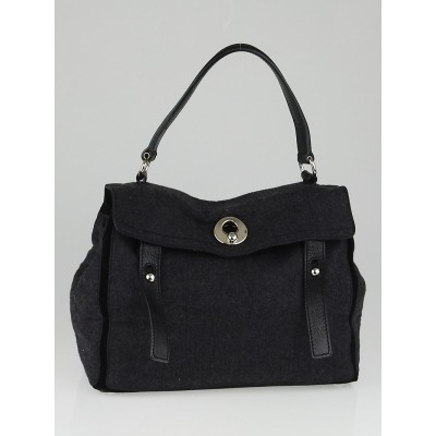Yves Saint Laurent Grey Flannel / Black Suede Medium Muse Two Bag