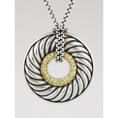 David Yurman Sterling Silver and Yellow Sapphire Cable Classic Disc Pendant