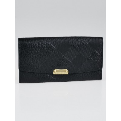 Burberry Black Embossed Check Grained Leather Check Porter Continental Wallet